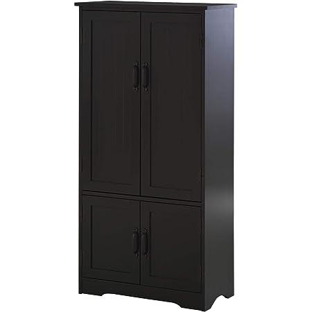Armoire de cuisine contemporaine multi-rangements 2 placards 3 étagères MDF panneaux particules noir