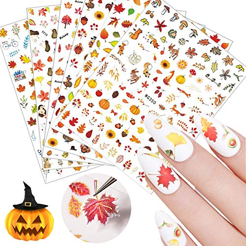 3D Thanksgiving Nail Art Stickers 6 Sheets Autumn Fall Nail Art Accessories Decals Self-adhesive Maple Leaf Pumpkin Turkey Designs Sticker for Women Nail Arts DIY Nail Decorations Halloween Party