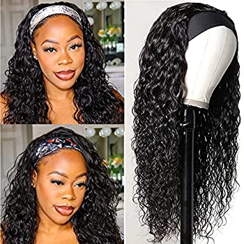 UNice Hair Water Wave Headband Wig Human Hair Glueless Wig None Lace Front Wig Brazilian Virgin Hair Natural Color for Black Women 150% Density 18Inch