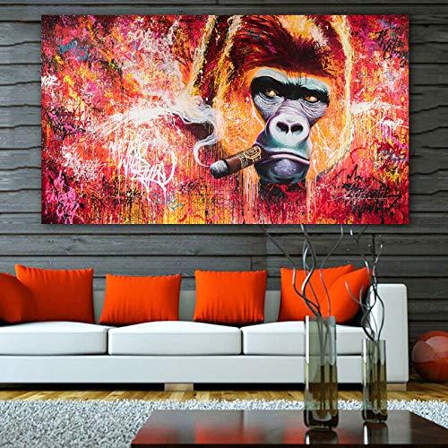 ganlanshu Rahmenlose Malerei Kunst Affengorilla raucht Moderne Wohnkultur Malerei WandmalereiCGQ8480 31X52cm