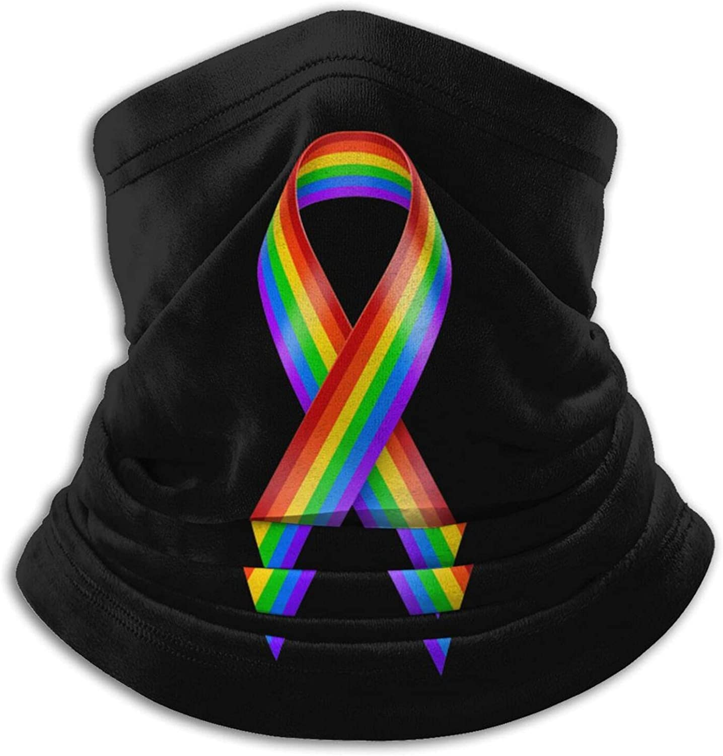 All cancer awareness rainbow ribbon unisex winter neck gaiter face cover mask, windproof balaclava scarf for fishing, running & hiking