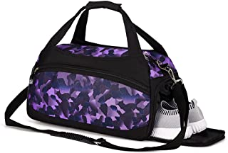 Kuston Sports Gym Bags with Wet Pocket and Shoes Compartment Travel Duffel Bag for Men&Women (purple)