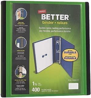 Staples 827607 1.5-Inch 3-Ring Better Binder Green (19059)