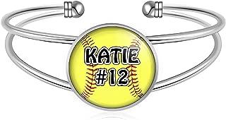 Softball Charm Bracelet- Girls Softball Adjustable Cuff Bracelet Jewelry- Customized Softball Bracelet with Name and Number- Softball Gifts, Softball Moms, Softball Teams