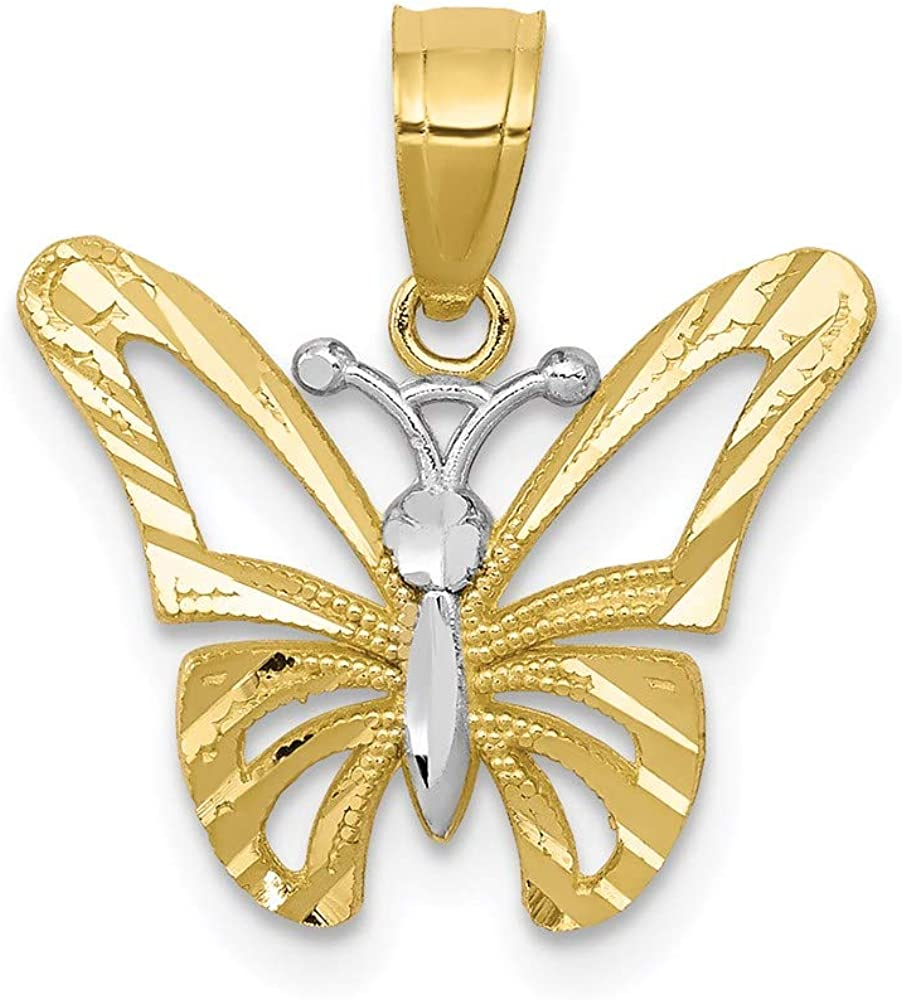 10k Yellow Gold Butterfly Pendant Charm Necklace Animal Insect Arachnid Fine Jewelry For Women Gifts For Her