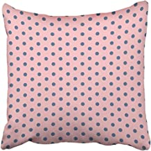 Pillow Covers Print Black Abstract Pink Polka Dot on Blue Circle Geometric Girl Graphic Hello Kitty Little Polyester Zippered 18x18 Square Pillow Case Home Bed Couch Sofa