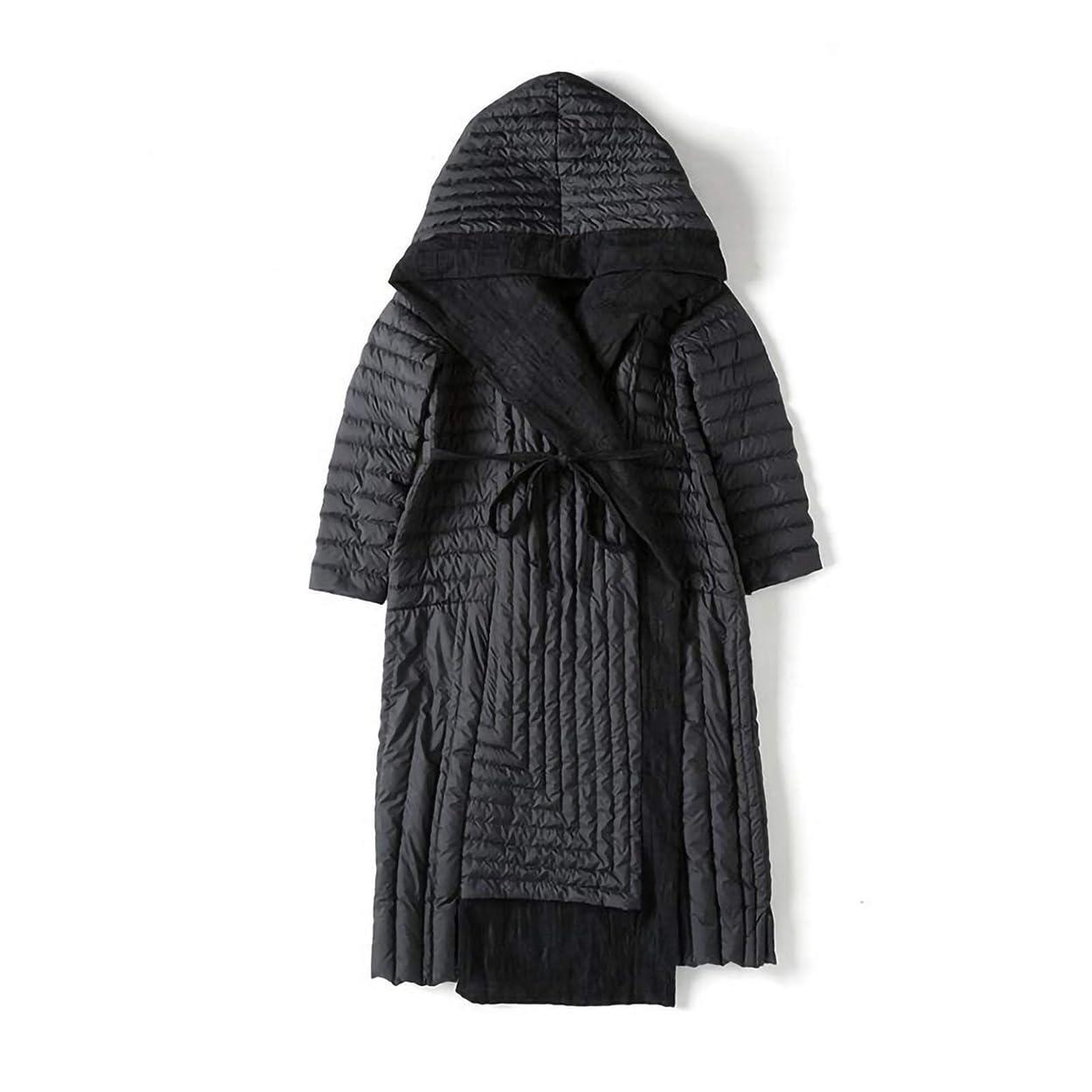 寝てるにぎやかチャールズキージング女性のダウンジャケット、中長さは、冬のジャケット防風、暖かい、冷たい雨や雪で通勤に適した大規模かつ厚いカジュアルジャケットを、緩いジャケットフード付き (Color : Black, Size : Medium)