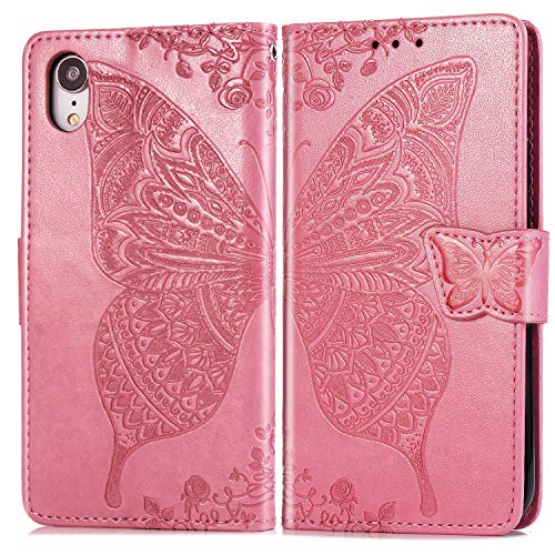 Hülle für iPhone XR Hülle Handyhülle [Standfunktion] [Kartenfach] Tasche Flip Case Cover Etui Schutzhülle lederhülle klapphülle für Apple iPhone XR - DESD020072 Rosa