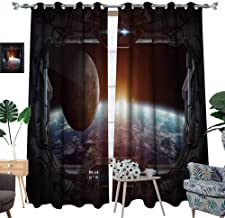 luvoluxhome Window Curtains Sun Blocking Curtains for Living Room/Bedroom Window View of Planet Earth from A Space Station ' D Rendering' 'Elements Furni