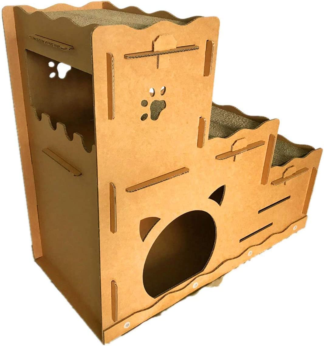 Seny Cardboard Fees free!! Cat House with W30 X D1 Three-Story High material Scratcher