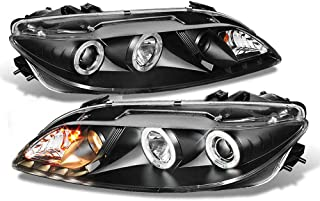 ACANII - For [Halogen Model Only] 2003-2006 Mazda 6 LED Halo DRL Black Housing Projector Headlights Headlamps Left+Right