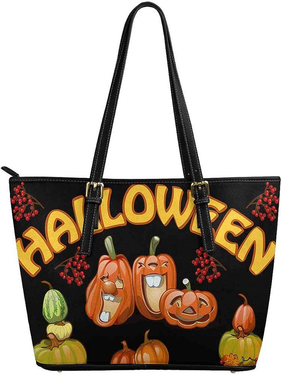 INTERESTPRINT Cute Halloween Pumpkins Custom PU Leather Totes Top Handle Casual Shoulder Bags new york city purses and handbags cat purse tote bag heavy duty