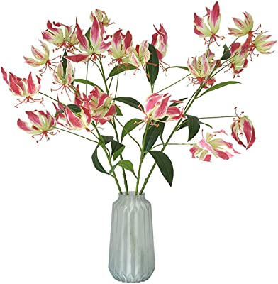 BQEE Artificial Flowers Lily Wedding Party Home Hotel Decoration (Red)