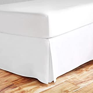 Valencia Beddings Split Corner Bed Skirt 18 Inch Drop King Size 100% Natural Cotton Wrinkle and Fade Resistant King Size, White Solid