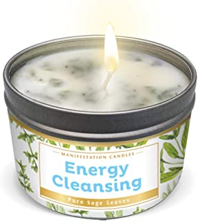Manifestation Candle White Sage Leaf & Scent, Smudge Candle for House Energy Cleansing, Banishes Negative Energy I Purific...