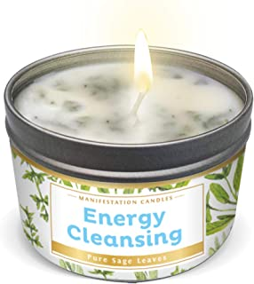 MANIFESTATION CANDLE White Sage Leaf & Scent, Smudge Candle for House Energy Cleansing, Banishes Negative Energy I Purification and Chakra Healing - Natural Soy Wax Tin for Aromatherapy (Sage Leaf)