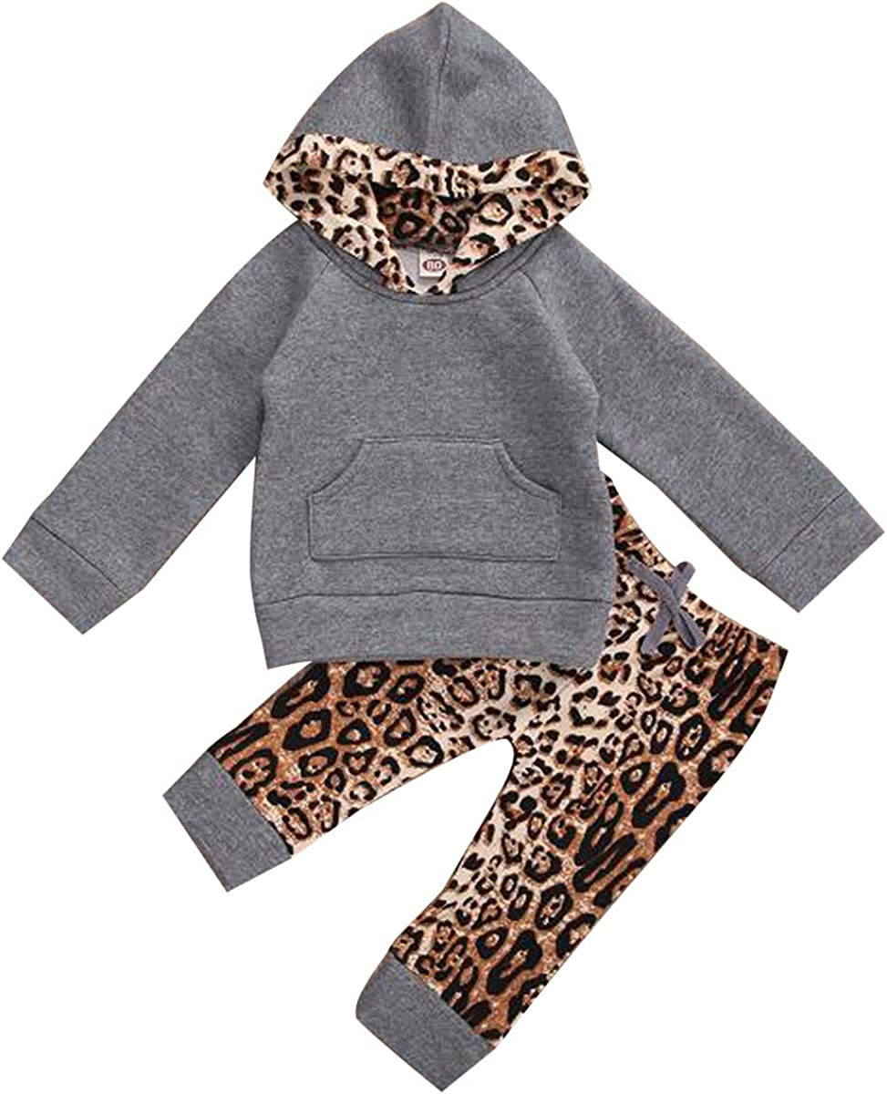 Baby Boy Girl Leopard Clothes Long Sleeve Hooded Pullover Sweatshirt Top + Print Pant 2Pcs Casual Fall Winter Outfit (6-12 Months, Leopard - Grey)