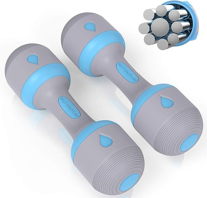 Set di 2 manubri con peso regolabile per esercizi e fitness, in gomma, antiscivolo panmax B08L8RTNKN