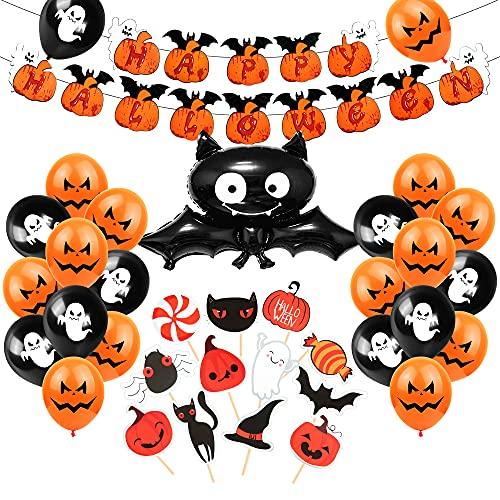 Decoracion Halloween Casa, Bandera Banderinas Happy Halloween, Decoración de halloween, Photocall de Halloween Fotomaton, Globos Negros Y Naranjas Con Fantasmas, Araña Gigante