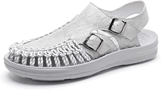 AiHua Huang Slide Sandals for Men Outdoor Sandals Buckle Genuine Leather with Woven Breathable Mesh Fabric Casual Walking The Parcel Toe (Color : Gray, Size : 8.5 UK)