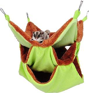 Yu-Xiang 3 Layer Hamster Hammock Solid Color Sugar Glider House Plush Tunnel Sleeping Bag Small Animal Hammock for Guinea ...