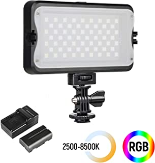 [Upgraded] RGB LED Camera Video Light, Dimmable 2500K-8500K Camcorder LED Light Panel for Digital SLR Cameras with 0-299 Muti-Color Types, White Filter, Battery and Charger