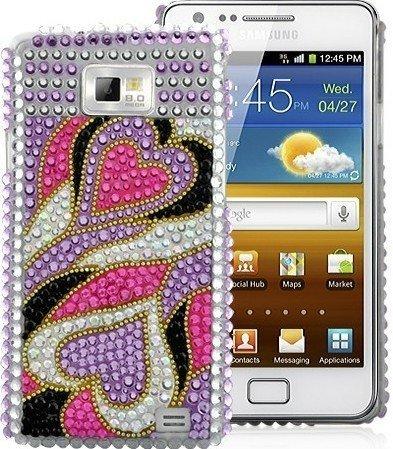 Terminal Protective Cover Case Cover Shell Case Samsung Galaxy S2 i9100 femmes fille élégante brillant cas de téléphone de strass chic et fémini coeur