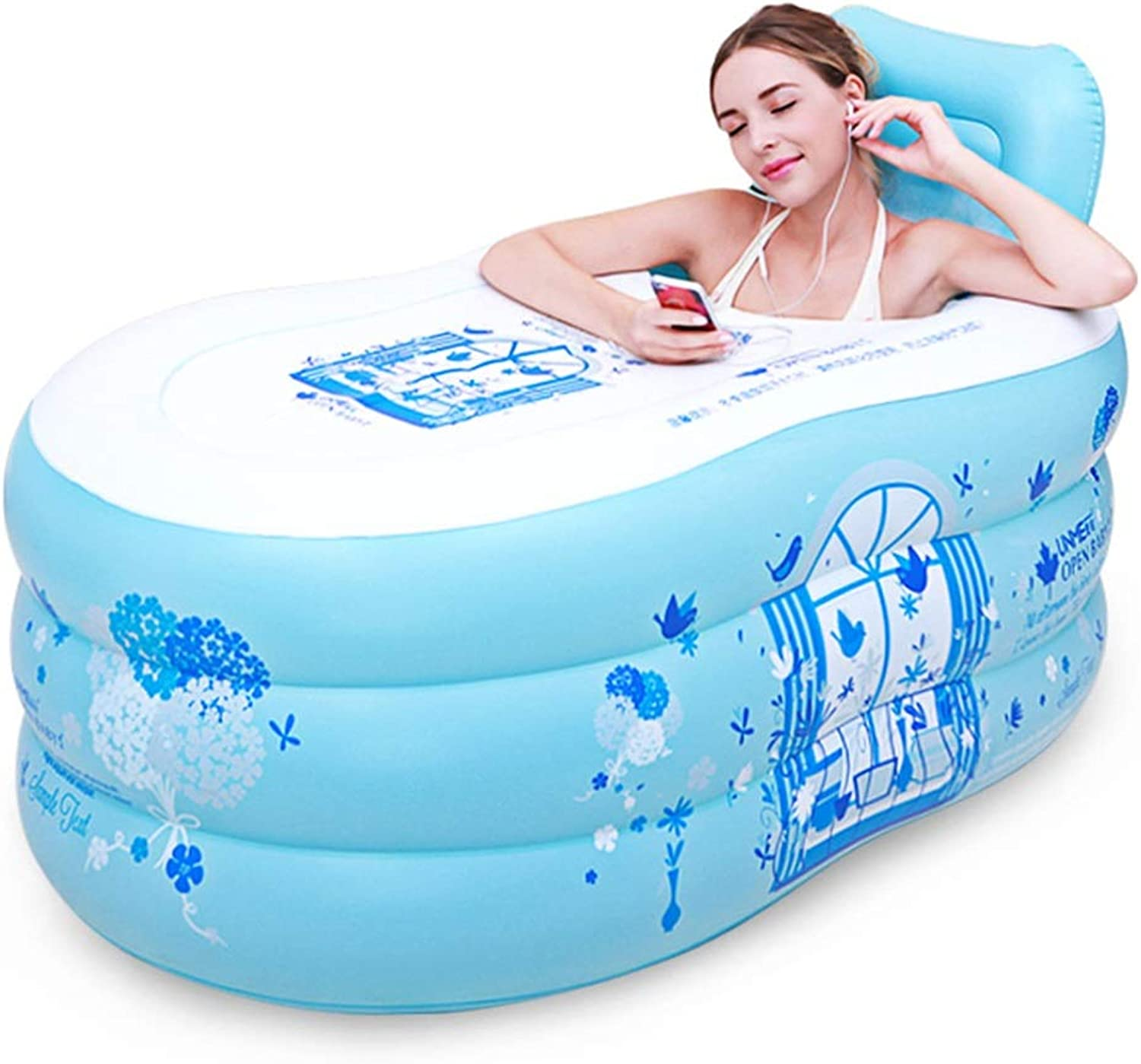 Meters Folding Inflatable Bathtub   Adult Bath Barrel Thickening Plastic Bathtub with Backrest, Sit & Lie Down - for Indoor, Outdoor Use