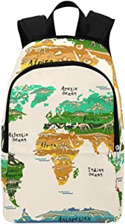WIEDLKL Dinosaurs Map of The World for Children and Kids Casual Daypack Travel Bag College School