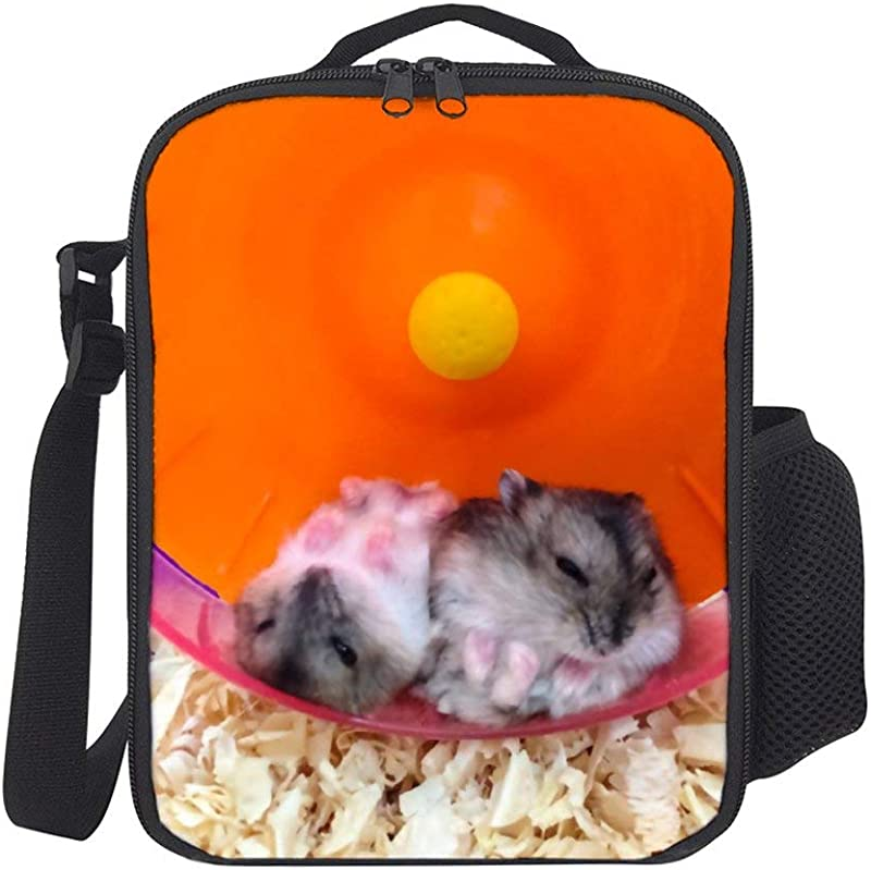 SARA NELL Kids Lunch Backpack Lunch Box Cute Hamsters Playing Lunch Bag Large Lunch Boxes Cooler Meal Prep Lunch Tote With Shoulder Strap For Boys Girls Teens Women Adults