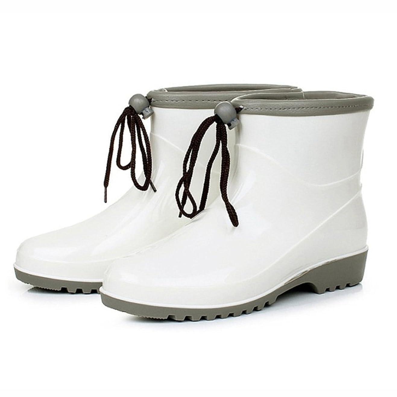 上に築きます検索政治家[HR株式会社] レインブーツ レディース 雨靴 ショート ヒール約3.0cm ハイヒール 美脚 お洒落 可愛い 紐飾り 防水 晴雨兼用 滑りにくい ホワイト 25.0cm