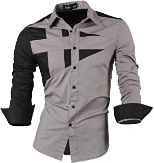 jeansian Men's Slim Fit Long Sleeves Casual Button Down Dress Shirts 8397