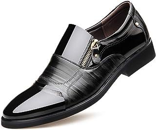 [DOUERY LTD] ビジネスシューズ メンズ レースアップ 28.0cm ポインテッドトゥ おしゃれ カジュアルウォーキング 防滑 黒 軽量 スリッポン フォーマルブラック 28cm 25cmジッパーブラウンブラック 革靴
