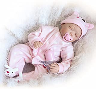 22inch 55cm Reborn Baby Doll Girl PP filling Silicon With Clothes Lifelike Cute Gifts Toy Pink Rabbit Romper