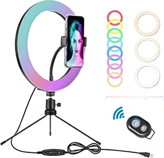 """LSEEKA 10"""" Luz de Anillo,Acero Carbono Trípode,Selfie RGB LED Anillo Soporte y Soporte,32 Colores RGB 3 Modos iluminación ..."""
