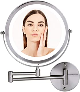 """OVENTE Wall Mount Mirror, 1×/10× Magnification, LED Ring Light, 8.5"""", Battery-Operated (MFW85BR1X10X)"""