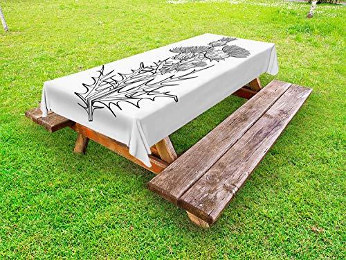 ABAKUHAUS Botanisch Tafelkleed voor Buitengebruik, Distel of Carduus Planten, Decoratief Wasbaar Tafelkleed voor Picknicktafel, 58 x 104 cm, Grijs en Witte Houtskool