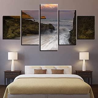 ZAPDAZ Canvas Pictures Home Decor Living Room Framework Hd Prints 5 Pieces Mountain Sea Wave Torrent Rapids Seascape Paintings Wall Art-size1-Frameless