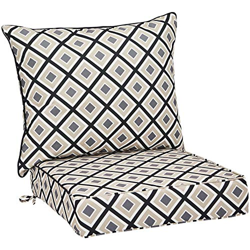 AmazonBasics Deep Seat Patio Seat and Back Cushion- Black Geometric