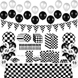 BeYumi 127Pack Race Car Checkered Party Supplies Decoration Kit, Including Banner Pennant Balloons Tablecloth Tableware Goodies Gift Bags, Black and White Party Decorations Pack, Serves 20 Guests