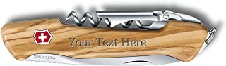 Victorinox Swiss Army Wine Master Wood Knife, 6 Functions with Leather Pouch - Custom Engraved - (2 Wood Types Available)