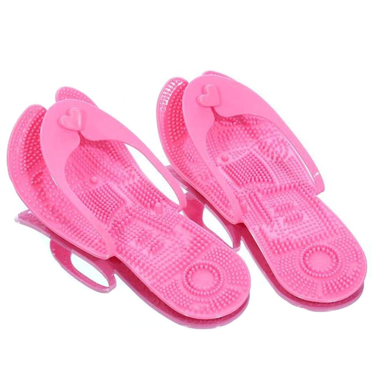 スキームこねる蚊滑り止めプールスリッパ、男女兼用の折りたたみ式フリップフロップ、ポータブルビーチサンダル、ホームフリップフロップ、フットマッサージのバスルームスリッパ、持ち運びが簡単,Pink,L