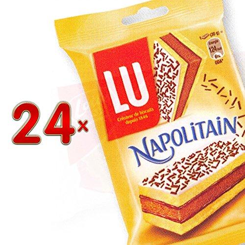 LU Napolitain Pocket 24 x 60g Packung (Kuchen aus mehreren Schichten mit weichem Äußeren, Schokoladen-Fondant-Topping und weichem, schokoladigen Inneren)