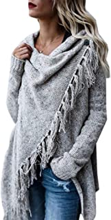 Women Poncho Coat Tassel Hem Sweater Cardigan Knitwer Pullover