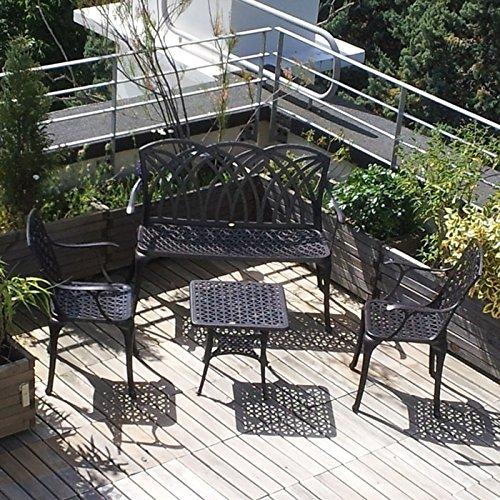 Lazy Susan – SANDRA Quadratischer Kaffeetisch mit 1 APRIL Gartenbank und 2 APRIL Stühlen – Gartenmöbel Set aus Metall, Antik Bronze (Beige Kissen) - 2