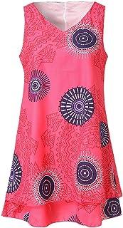 TWGONE Tank Dresses for Women Casual Plus Size Print Loose Shift Sleeveless Vest Sun Dress
