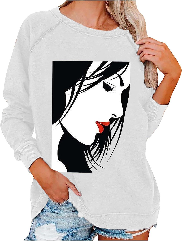 Women's Fall Crewneck Pullover Tops Long Sleeve Sweatshirt Vintage Print Loose Fit Blouse Lightweight Workout Hoodie