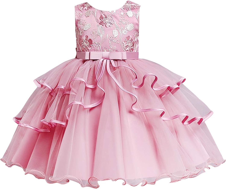 EFOFEI Girls Sleeveless Embroidery Princess Dress Crewneck Pageant Tutu Dresses Mesh Puffy Ball Gown