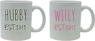 Hubby + Wifey Established EST. 2019 11-Ounce White Ceramic Coffee Mugs Set