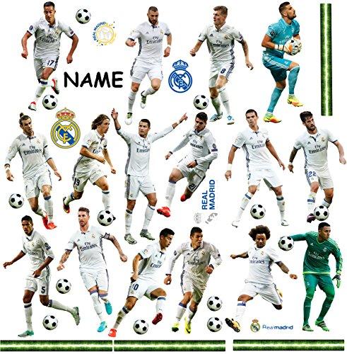 39 TLG. Set _ XL Fensterbilder _  Fußball Mannschaft - Real Madrid - Club de Futbol / FCM - Fußballverein  - incl. Name - zum Spielen & als Deko - Sticker F..